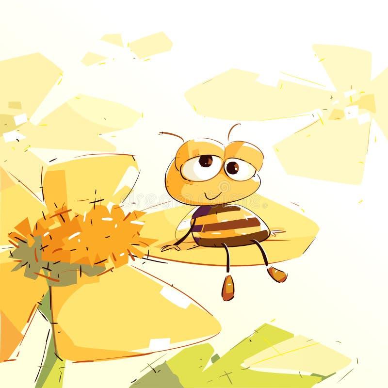 Уставшая пчела отдыхая на цветке иллюстрация вектора