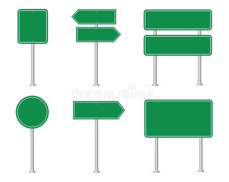 _устанавливать дорожный знак Пустой зеленый дорожный знак r иллюстрация вектора