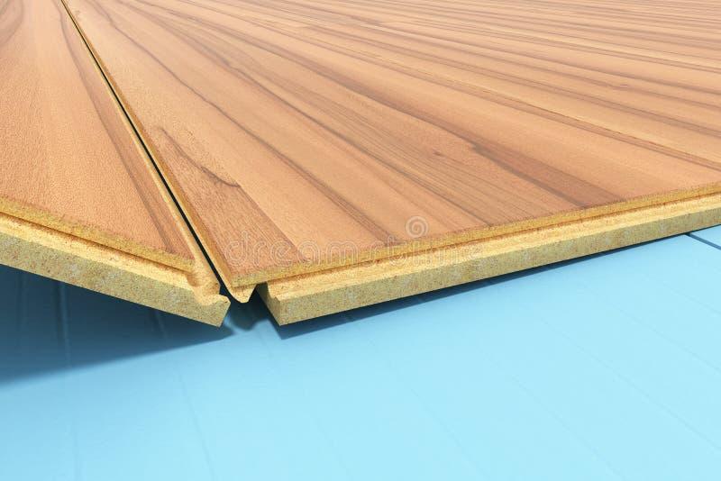 устанавливать деревянный слоистый настил с изоляцией и soundpro иллюстрация штока