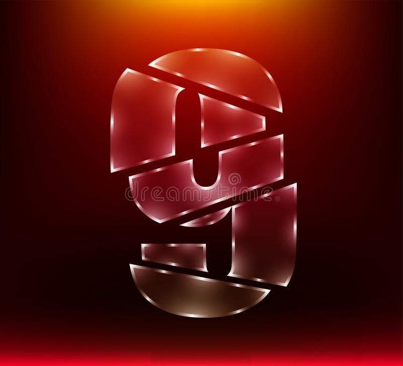Установите абстрактного поли роскошного стеклянного слеша 9 характера 9 номера шпагой с предпосылкой красного цвета иллюстрация e иллюстрация вектора