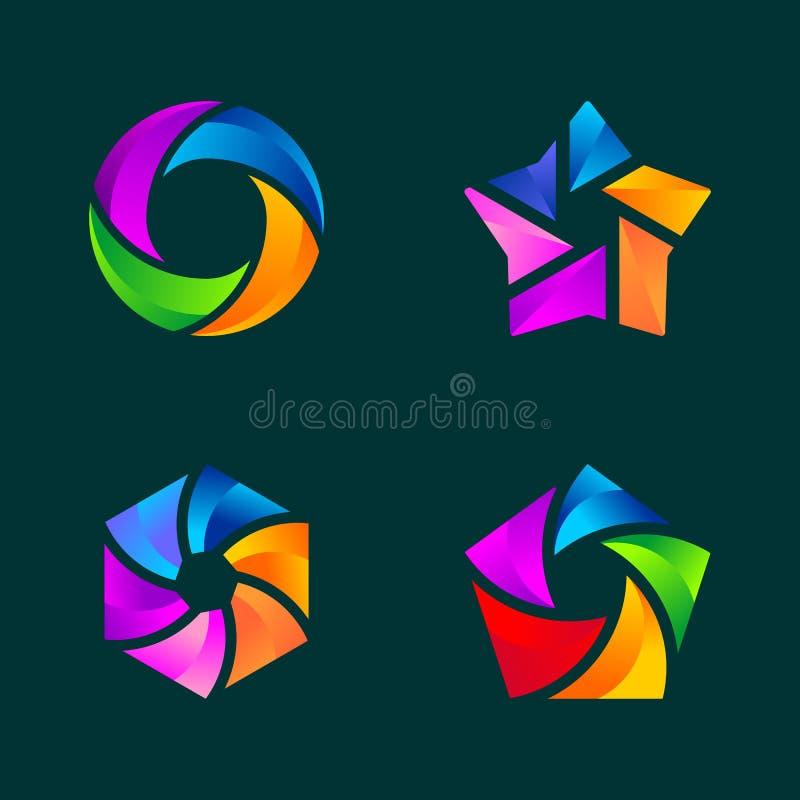Установите абстрактного шаблона логотипа дела иллюстрация штока