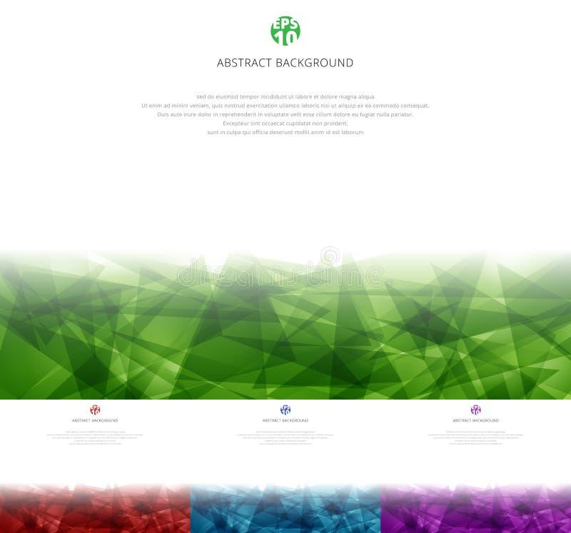 Установите абстрактный зеленый, красный, голубой, пурпурный полигональный перекрывать на белой предпосылке с космосом экземпляра  иллюстрация штока