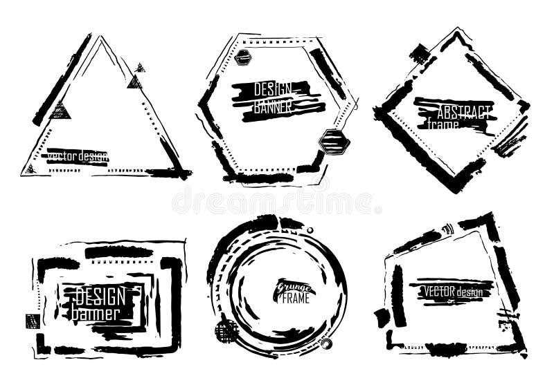 Установите абстрактных знамен вектора стиля grunge Грязная рука рисуя художественные элементы дизайна изолированные на белой пред иллюстрация штока