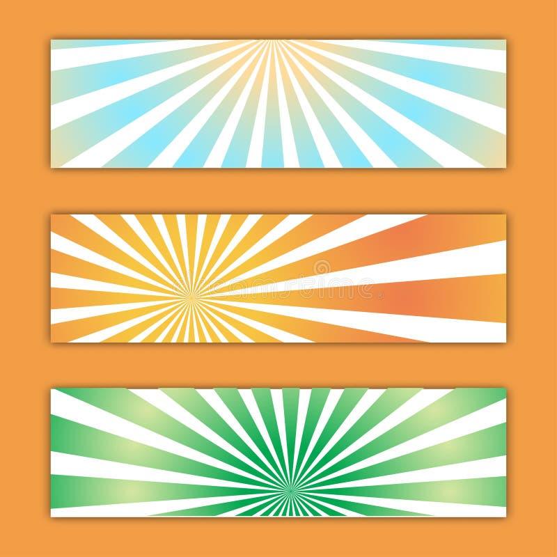Установите 3 абстрактных пестротканых текстур фонов абстрактных ярких энергичных волшебных ретро sunburst плакатов r иллюстрация вектора