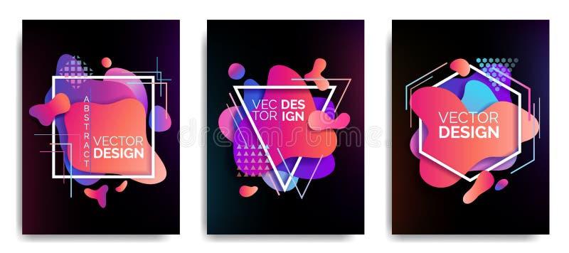 Установите абстрактных пропуская жидкостных элементов, красочных форм, динамических геометрических форм, волн градиента, иллюстра бесплатная иллюстрация