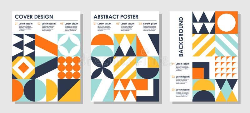 Установите абстрактных творческих предпосылок в стиле Баухауза с космосом экземпляра для текста иллюстрация вектора