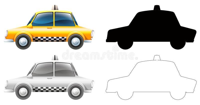 Установите автомобиля такси иллюстрация вектора