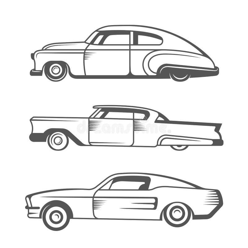 Установите автомобили вектора винтажные старые иллюстрация штока