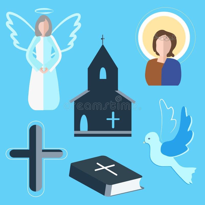 Установите ангела значков, креста, голубя, церков иллюстрация штока
