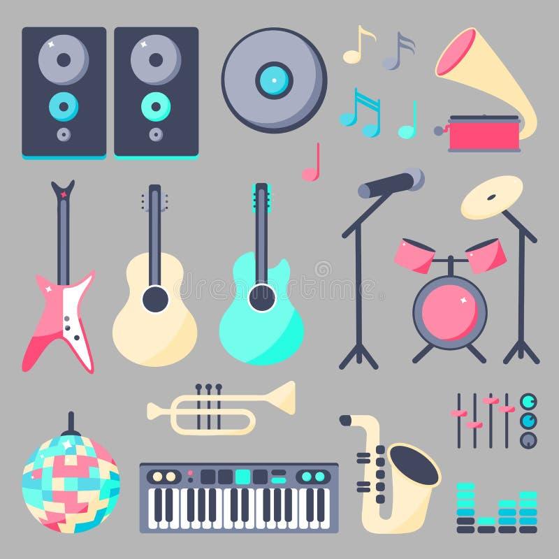 Установите аппаратур музыки в плоском стиле иллюстрация вектора