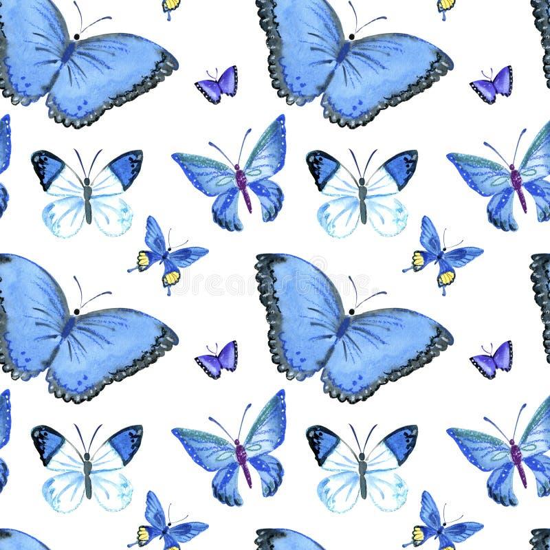 Установите бабочек акварели Винтажное искусство весны лета иллюстрация вектора
