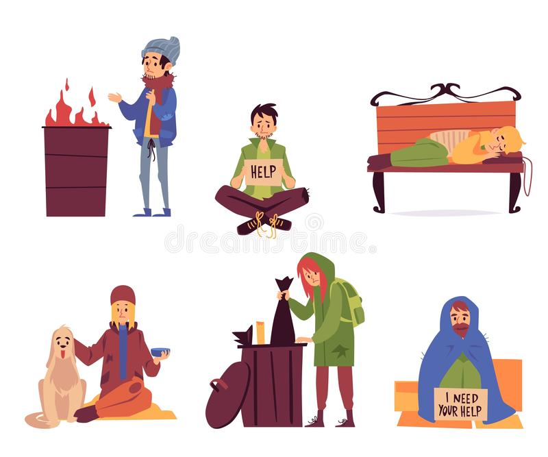 Установите бездомных в стиле мультфильма ситуаций различной помощи нуждающийся иллюстрация вектора