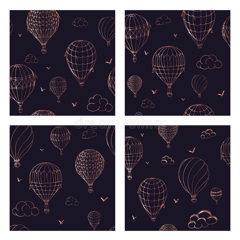Установите безшовной картины с воздушными шарами в monochrome цветах Много по-разному покрашенных striped воздушных шаров летая в бесплатная иллюстрация