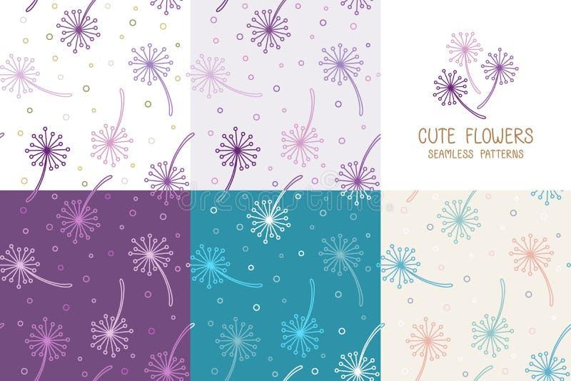 Установите безшовной фиолетовой маленькой картины цветков, милой фло бесплатная иллюстрация