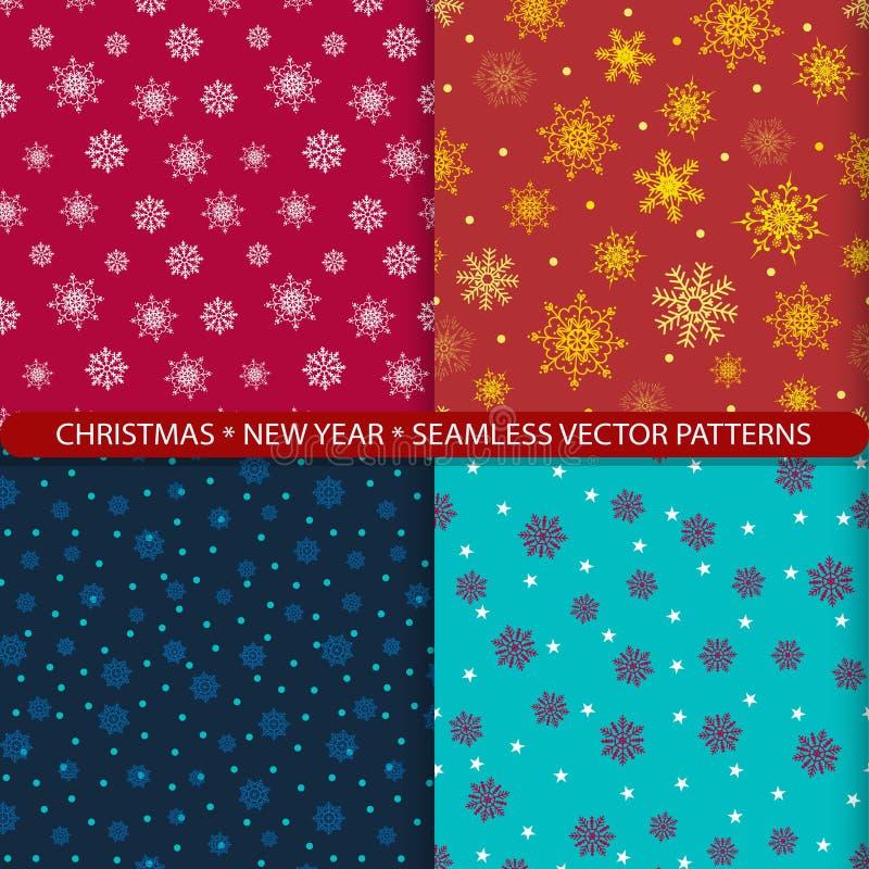 Установите безшовных картин вектора со снежинками рождества и Нового Года Печать для тканей Печать для костюма Нового Года Дизайн иллюстрация вектора