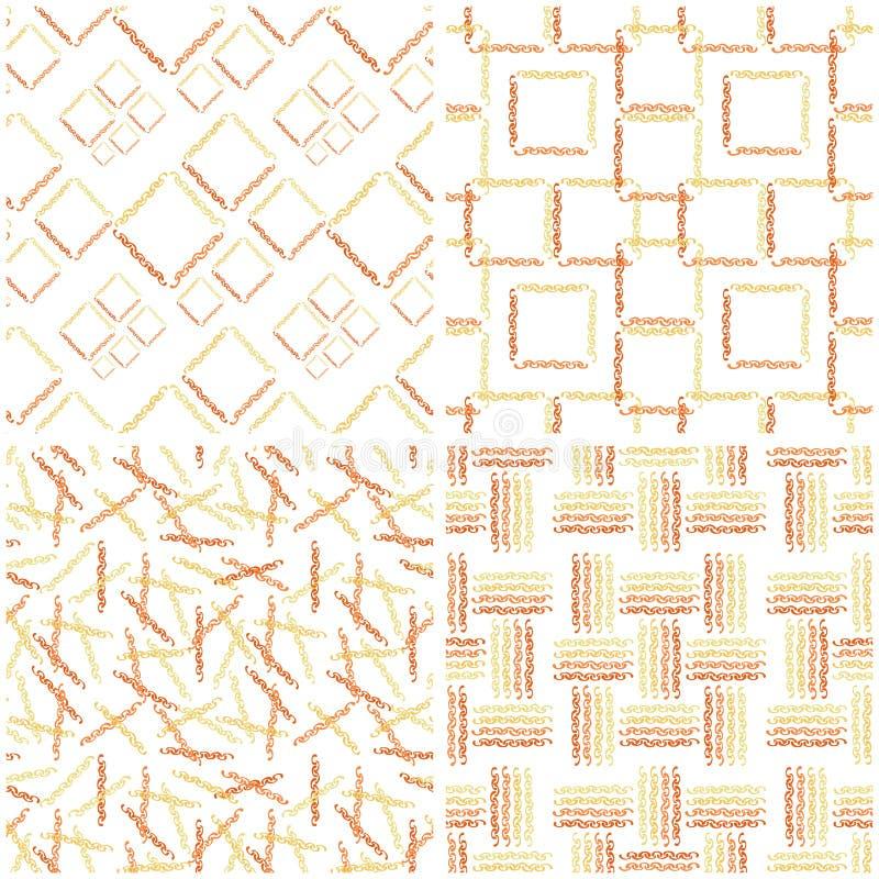 Установите безшовных картин оранжевых цепей на белой предпосылке стоковые фотографии rf