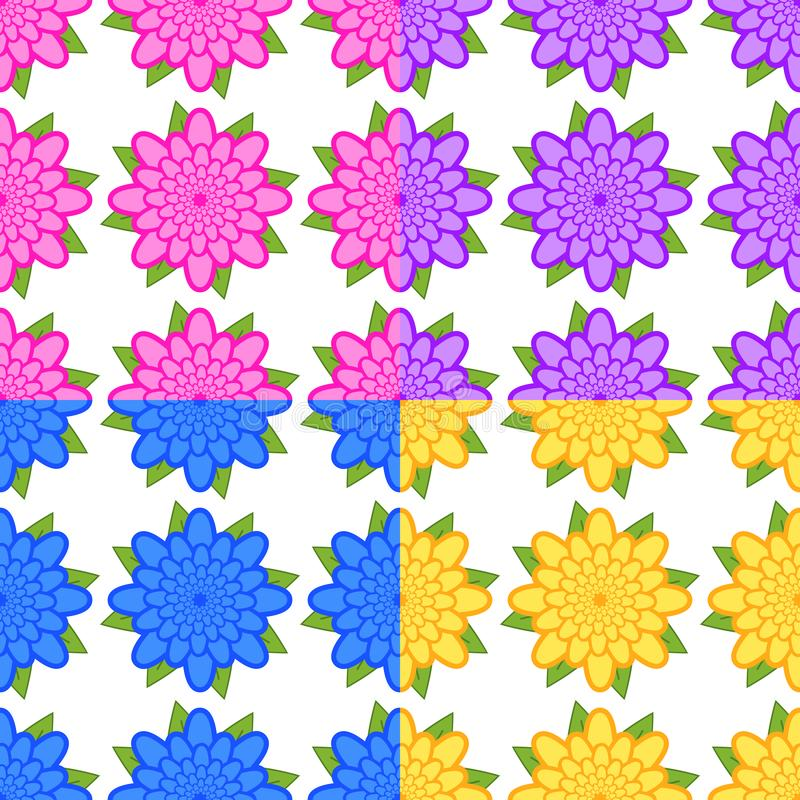 Установите безшовных картин розовых, пурпурных, голубых, желтых цветков с зелеными листьями на белой предпосылке бесплатная иллюстрация