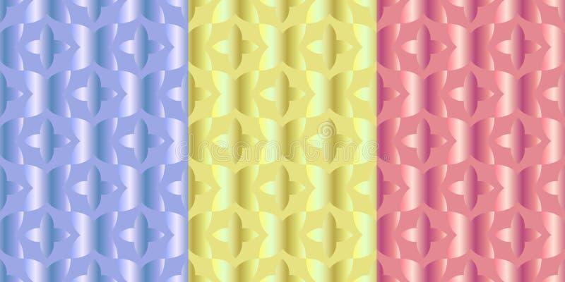 Установите 3 безшовных картин с приказанным расположением абстрактных геометрических форм иллюстрация штока