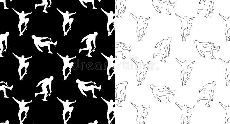 Установите безшовных картин с силуэтами и скейтбордистов плана на черно-белой предпосылке иллюстрация вектора