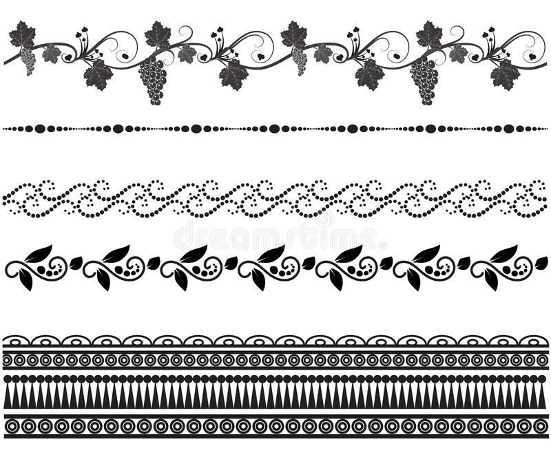 Установите безшовных картин Mehndi иллюстрация штока