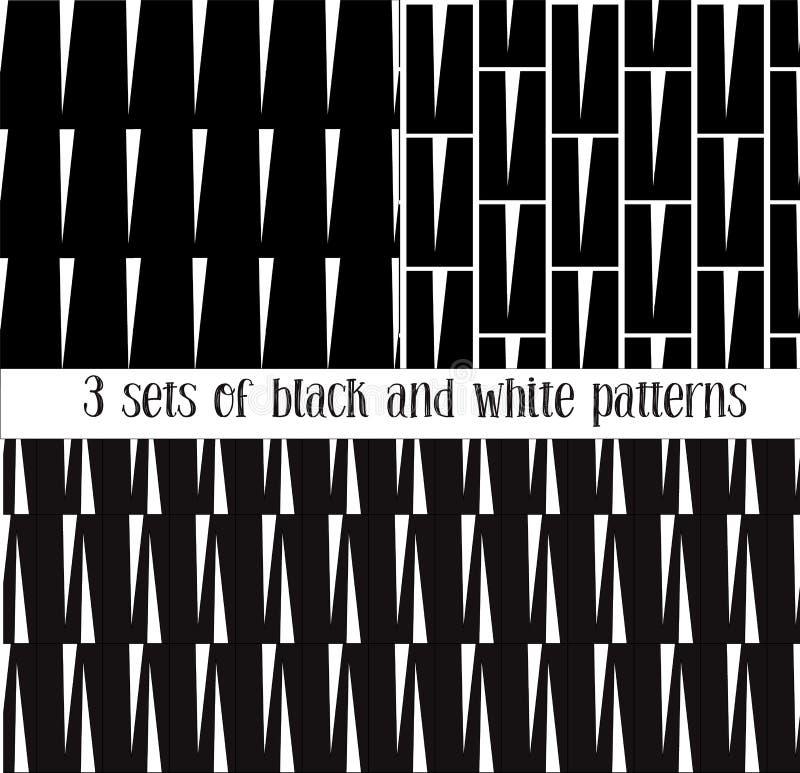 Установите 3 безшовных черно-белых картин иллюстрация штока