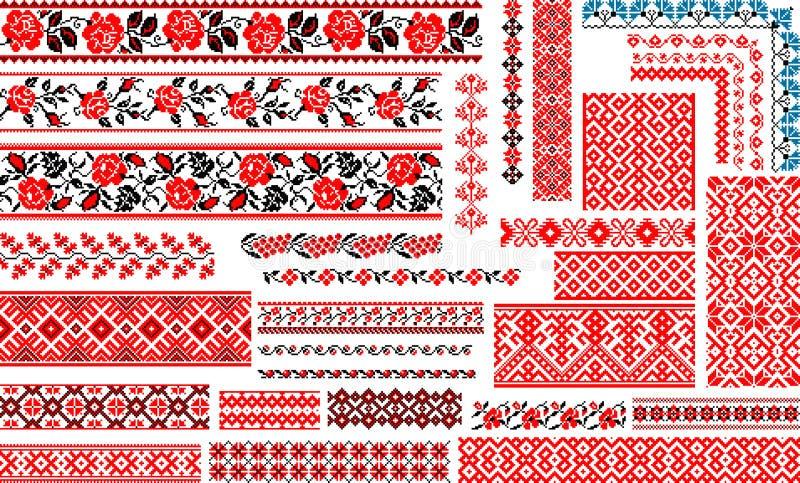 Установите 30 безшовных этнических картин для стежка вышивки стоковые фотографии rf