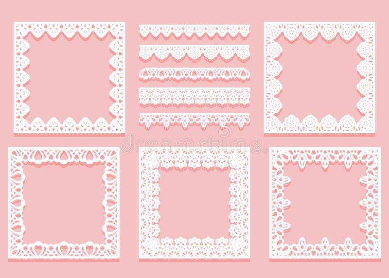 Установите белых рамок шнурка квадратных форм и рассекателей Элементы Tracery винтажные изолированные на розовой предпосылке иллюстрация штока