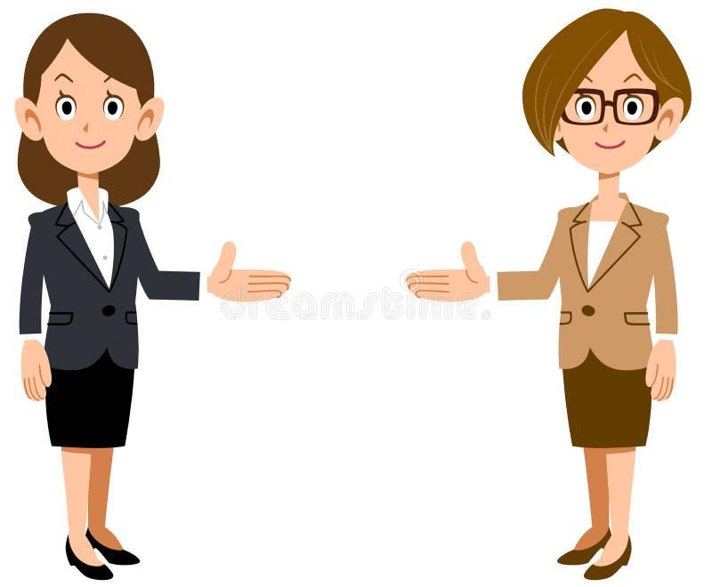 Установите бизнес-леди вводя на обеих сторонах бесплатная иллюстрация