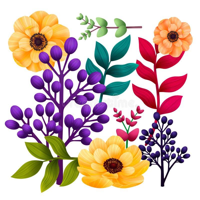 Установите ботанический элементов Сад и дикие листва, цветки и ветви изолированные на белой предпосылке, экзотический, тропическо иллюстрация штока