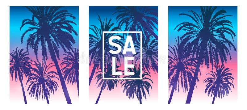 Установите брошюры лета тропической покрывает дизайн с силуэтами пальм на предпосылке неба восхода солнца утра иллюстрация штока