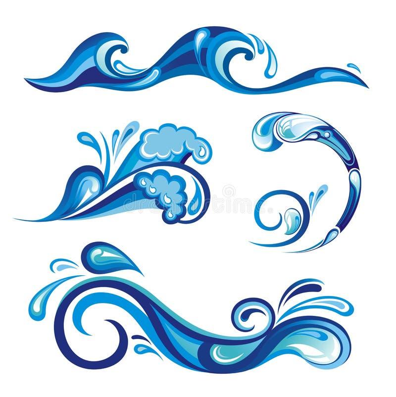 установите брызгает воду иллюстрация штока