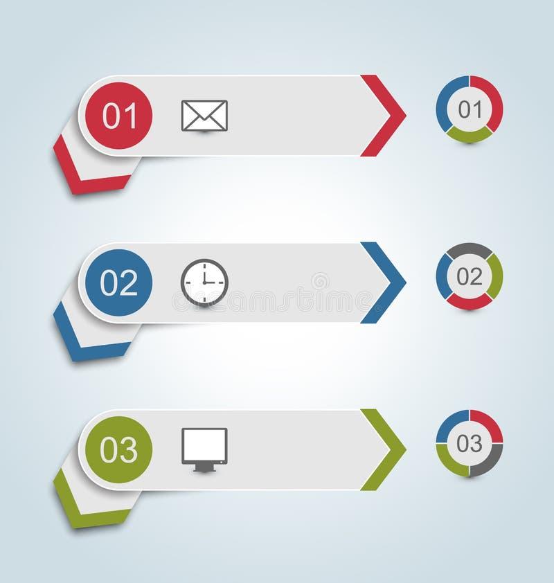 Установите бумажные ярлыки с infographic значками иллюстрация вектора
