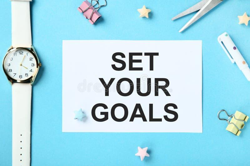 Установите ваши цели на бумаге стоковая фотография rf