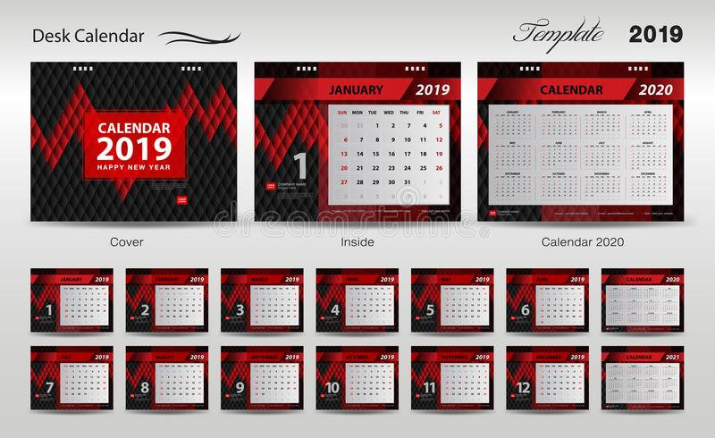 Установите вектор 2019, дизайн крышки, комплект дизайна шаблона настольного календаря 12 месяцев, стартов воскресенья недели, диз иллюстрация штока
