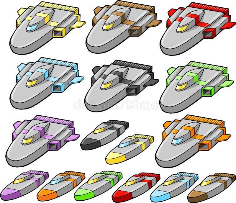 установите вектор космического корабля корабля бесплатная иллюстрация