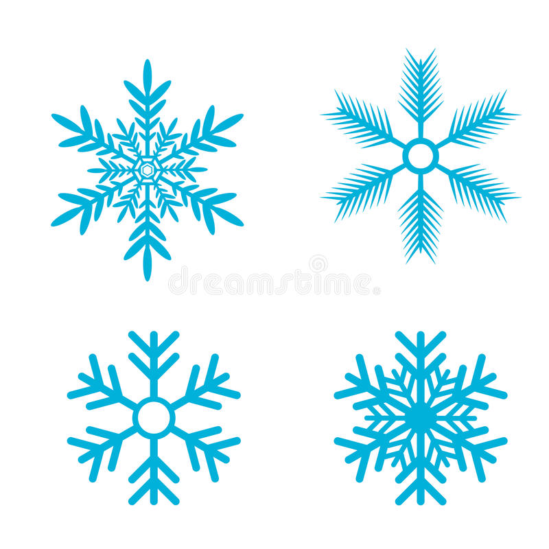 установите вектор снежинок значок хлопь снега иллюстрация вектора