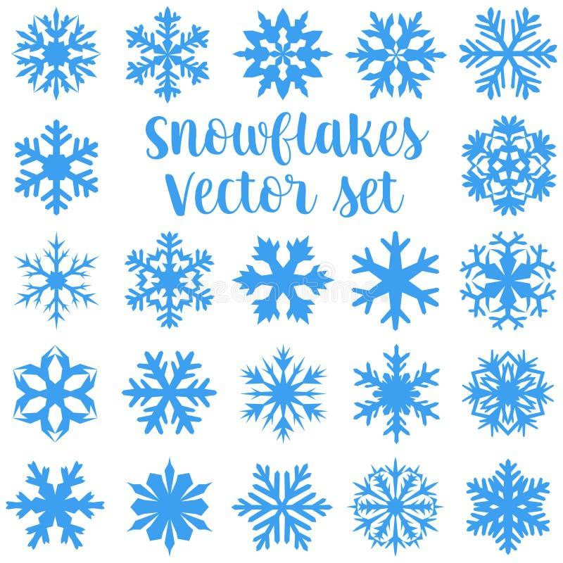 установите вектор снежинок иллюстрация штока