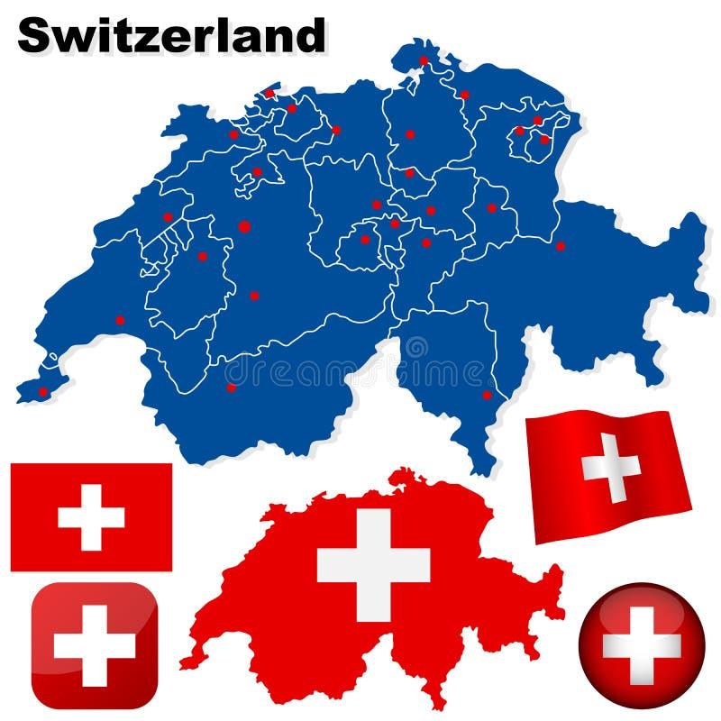 установите вектор Швейцарии иллюстрация штока