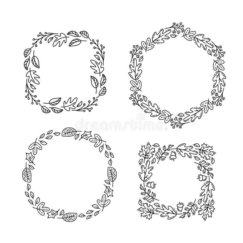 Установите венка осени monoline вектора круглого Рамка букета с листьями, ягодами и другими осенними элементами изолированными на иллюстрация вектора