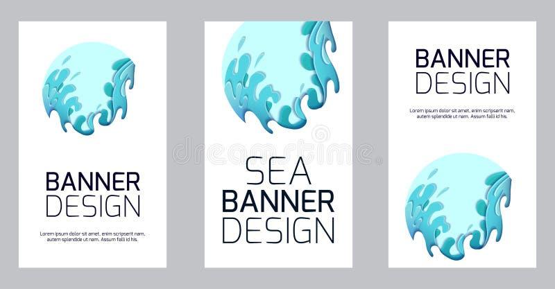 Установите вертикального знамени с жестокими волнами моря отрезанными из бумаги Карта с разнослоистым чертежом 3d потоков воды Шт иллюстрация штока