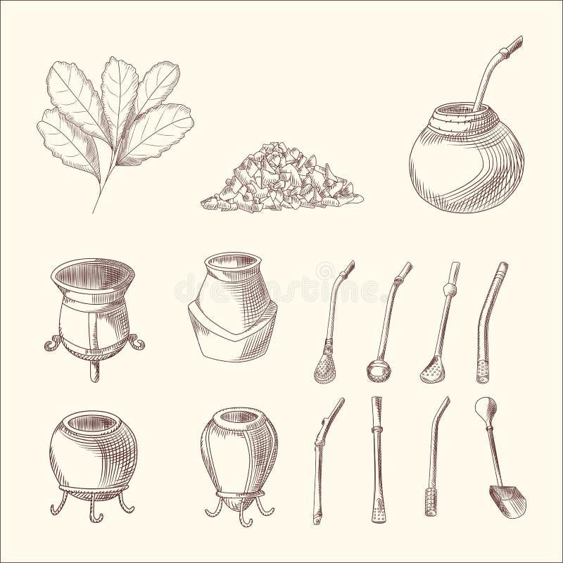 Установите ветви, калебаса и bombilla чая ответной части yerba Лист чая ответной части бесплатная иллюстрация