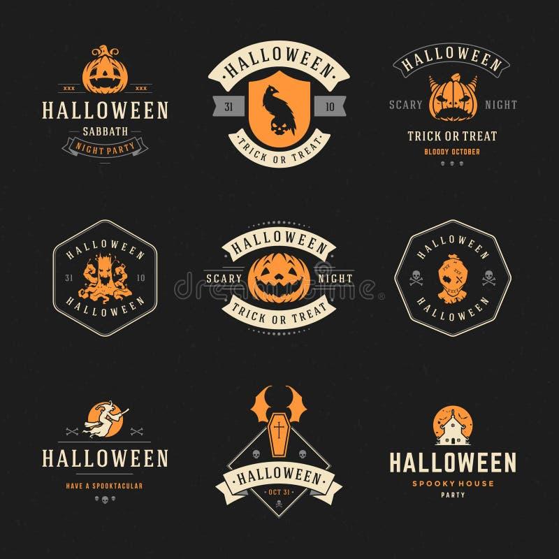 Установите винтажные счастливые значки и ярлыки хеллоуина иллюстрация штока