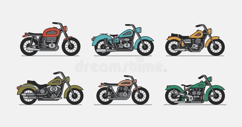 Установите винтажный мотоцикл иллюстрация штока