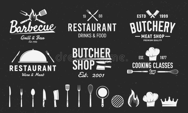 Установите 6 винтажных логотипов и 14 элементов дизайна для логотипа, эмблемы Ресторанный бизнес Палачество, барбекю, templa эмбл иллюстрация штока