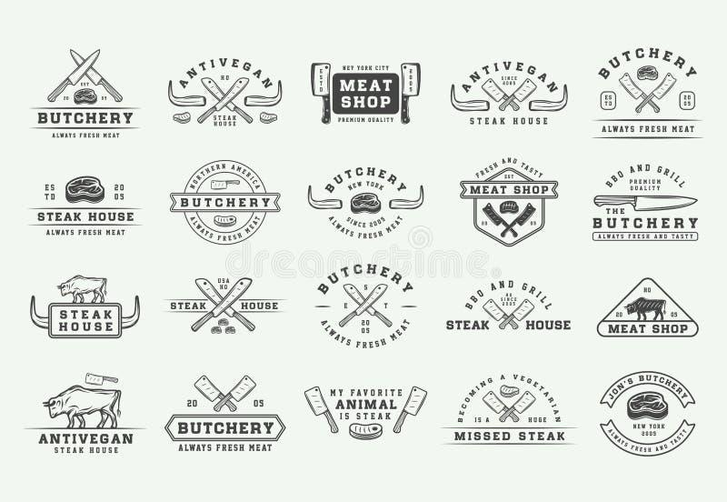 Установите винтажных логотипов мяса, стейка или bbq палачества, эмблем, значков, ярлыков Графическое искусство r иллюстрация штока