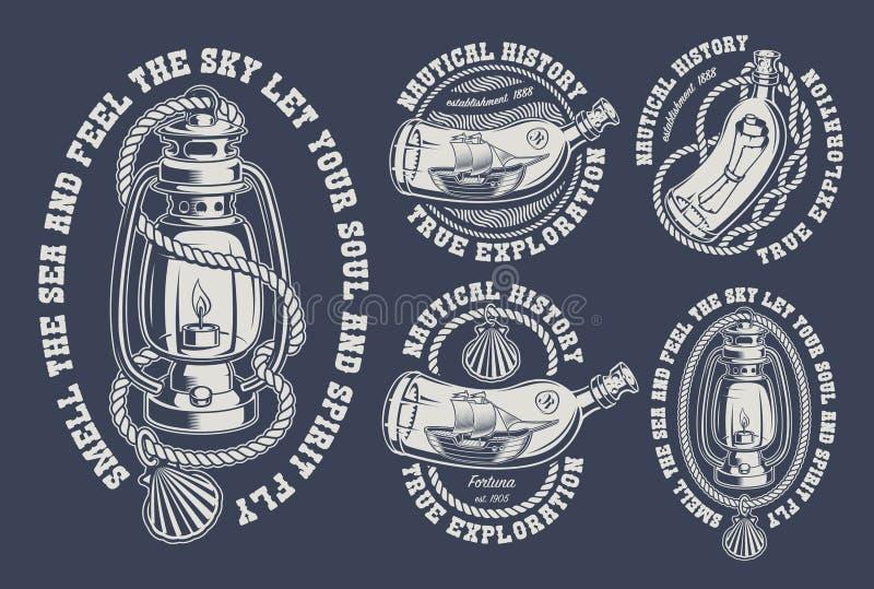 Установите винтажных морских иллюстраций на темной предпосылке иллюстрация штока