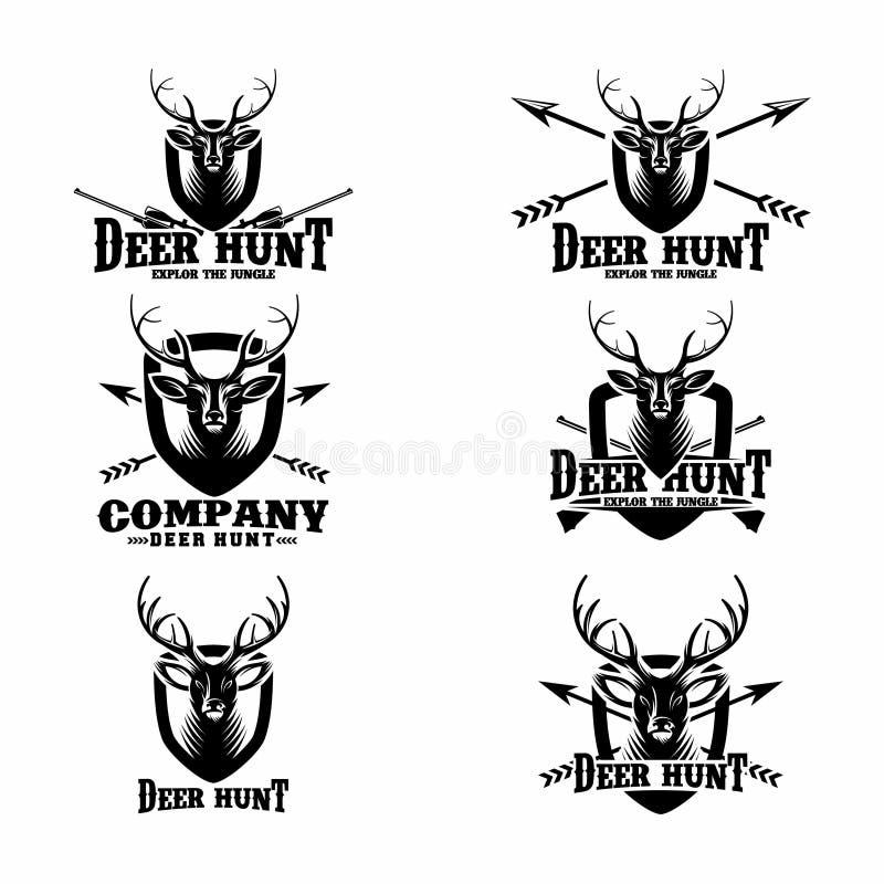 Установите винтажных охотясь элементов ярлыков, логотипа, значка и дизайна - вектора иллюстрация вектора