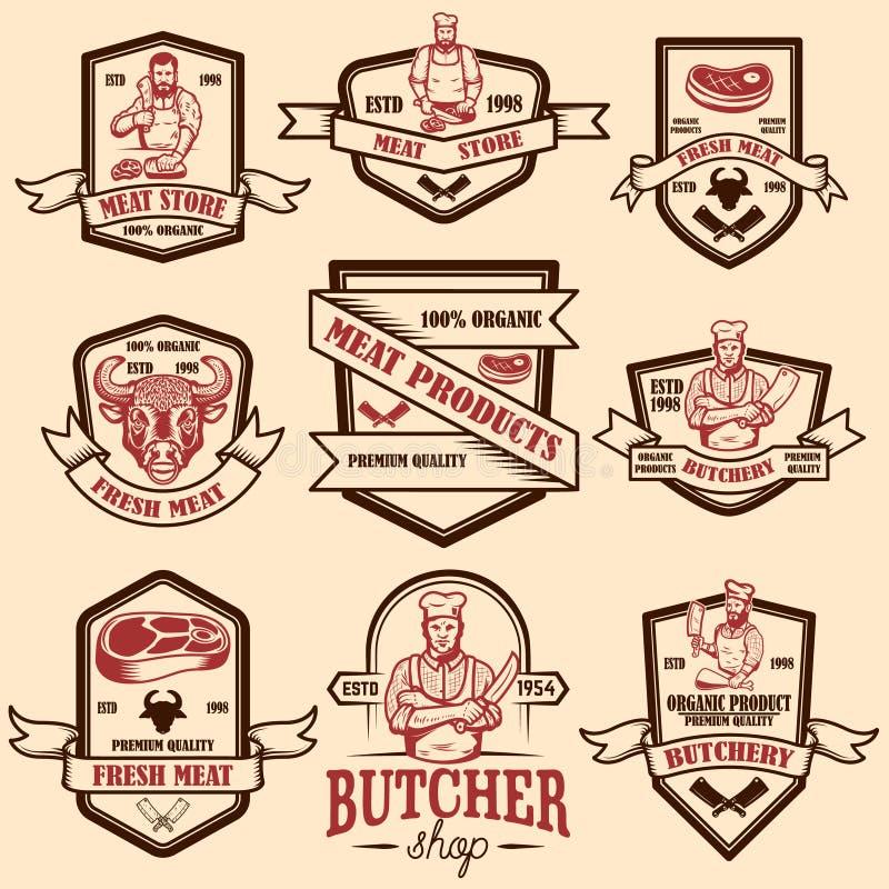 Установите винтажных ярлыков магазина мяса Элемент дизайна для логотипа, эмблемы, знака, плаката иллюстрация штока