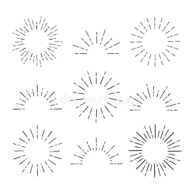 Установите винтажных Sunbursts в различных формах Лучи руки хипстера вычерченные ретро разрывая конструируют элементы иллюстрация вектора