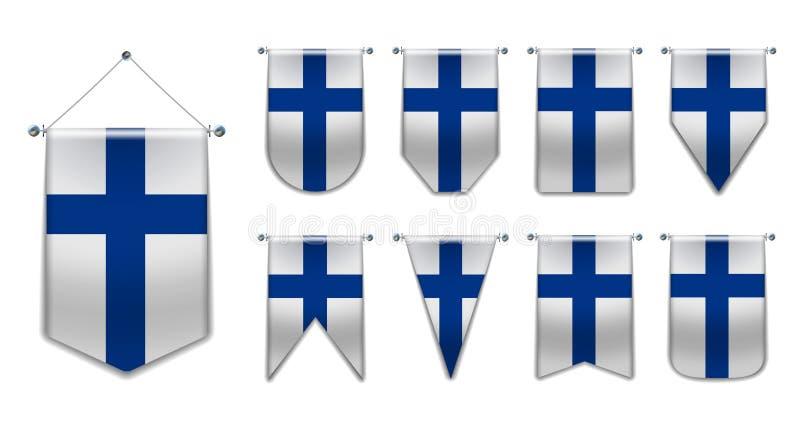 Установите вися флагов ФИНЛЯНДИИ с текстурой ткани Формы разнообразия страны национального флага вертикально иллюстрация штока